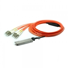 10m(32.8ft) Generic Compatible 40G QSFP+ to 4 Duplex LC Breakout Active Optical Cable