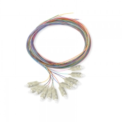 12-fiber SC/UPC Multi-mode Color-Coded Fiber Optic Pigtail